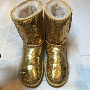 Gold Super Shiny Authentic Ugg Boots